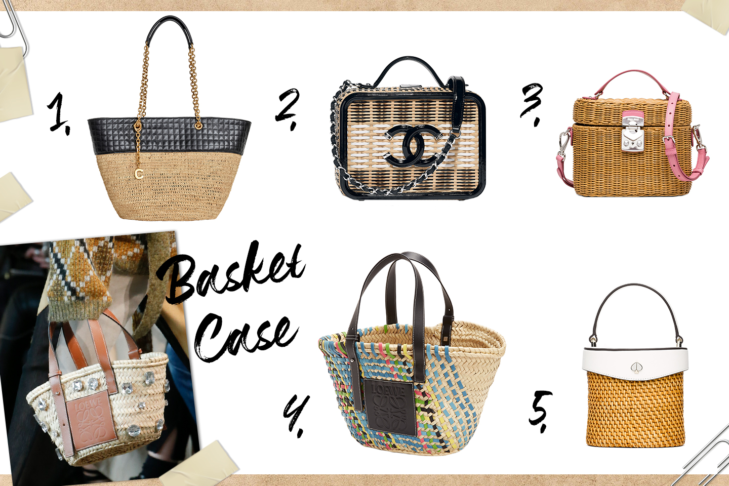 2739b5ac854558 Rattan and patent leather handbag with chain sling, by Chanel, 3. Wicker  top handle basket with detachable sling, by Miu Miu, 4.