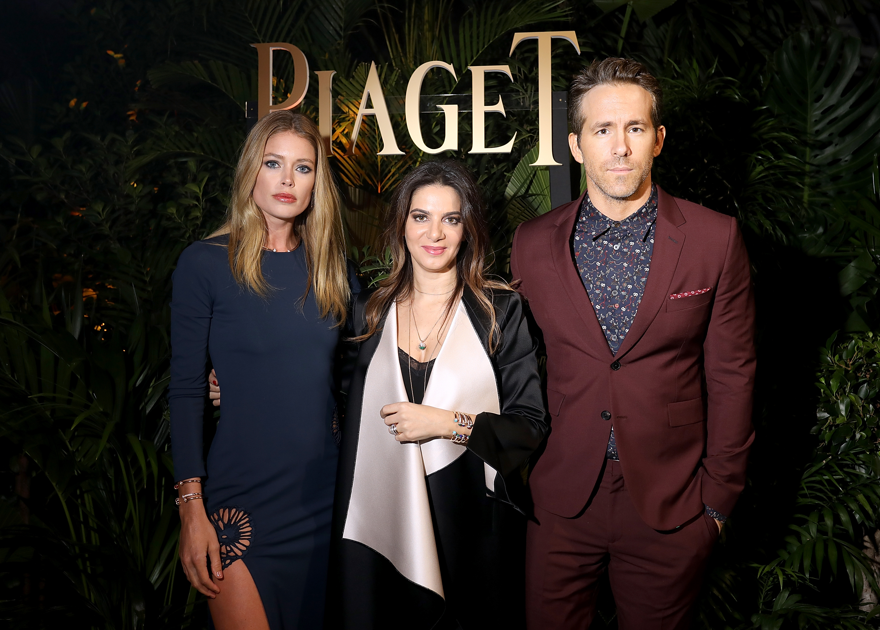 Doutzen Kroes, Piaget CEO Chabi Nouri and Ryan Reynolds