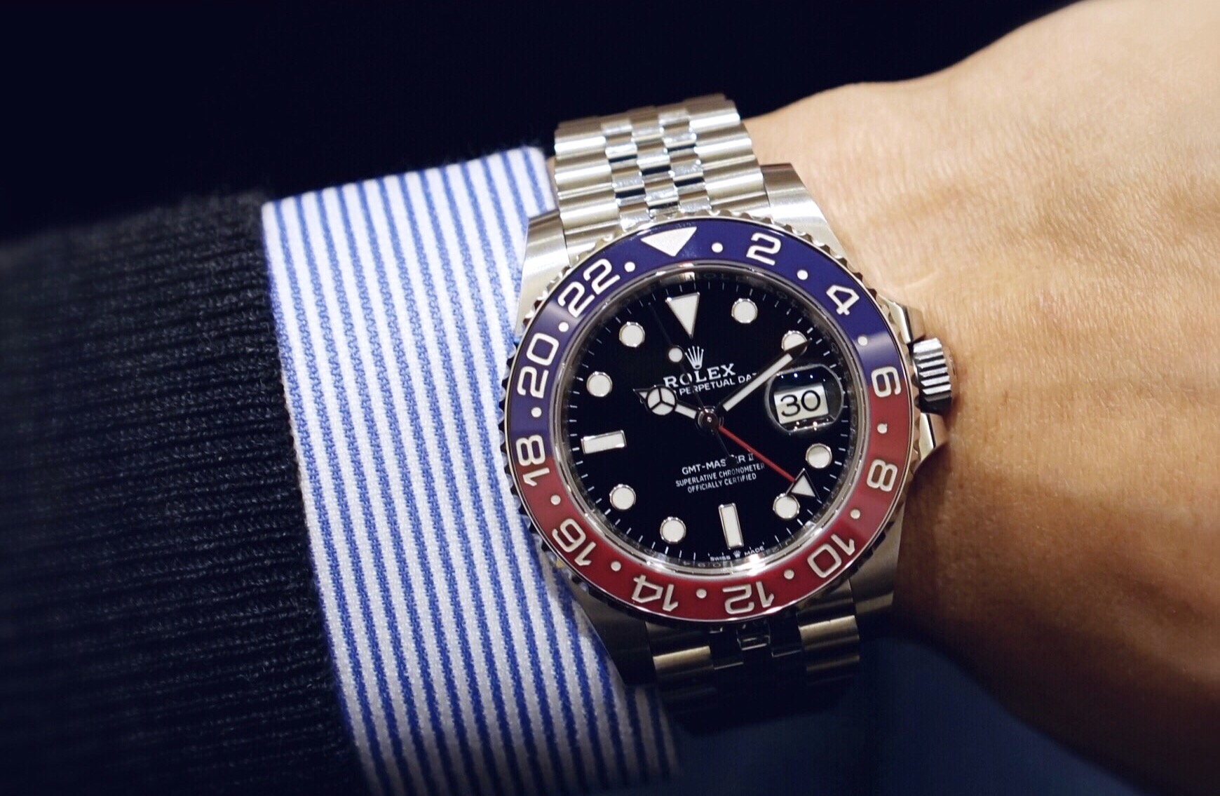 "35e5403cd21 The Rolex GMT-Master II in its Cerachrom ""Pepsi"" bezel, now finally in  steel, alongside two line extensions."